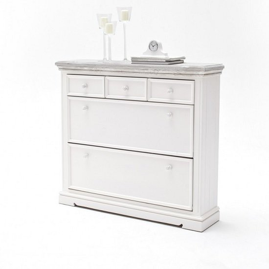 Corrin Wooden Shoe Cupboard Wide In White With 2 Flaps Doors_1
