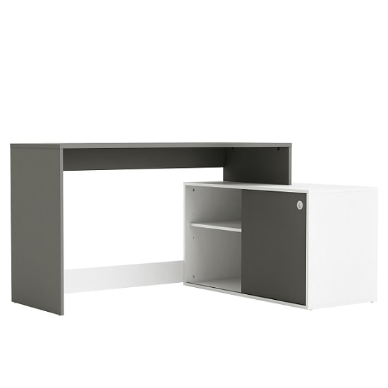 Corsica Corner Computer Desk In Graphite Grey And White