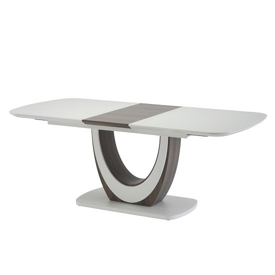 Corsica Extendable Dining Table In Matt White Gloss And Grey