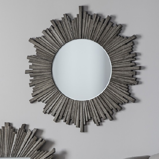 Corsley Starburst Wall Mirror Round In Grey Weathered
