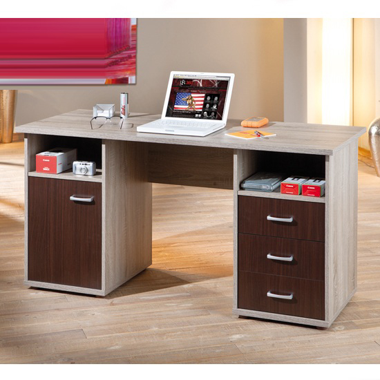 desk in sonoma oak and wenge finish with drawers corso office desk