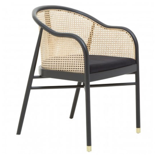 View Corson cane rattan wooden bedroom chair in black