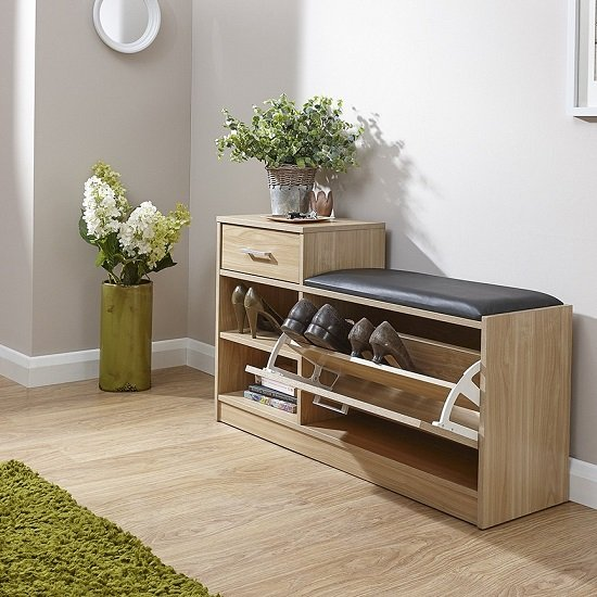 Cortes Shoe Bench In Oak With One Drawer And Open Shelf_2