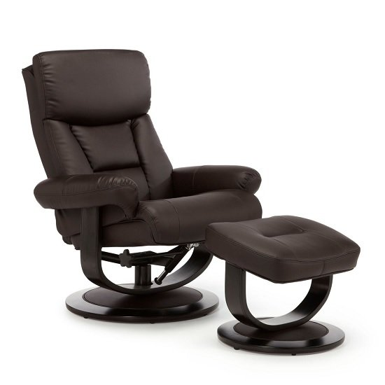 Cortez Recliner Chair In Brown Bonded Leather With Footstool
