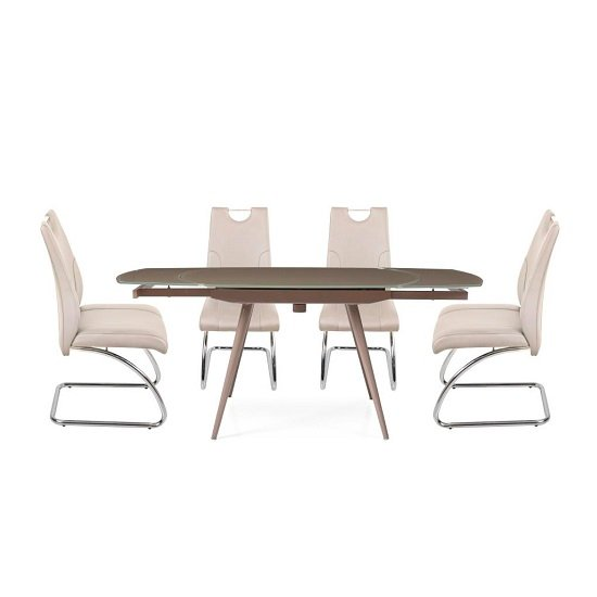 View Cortina extendable glass dining table in taupe 4 champagne chair