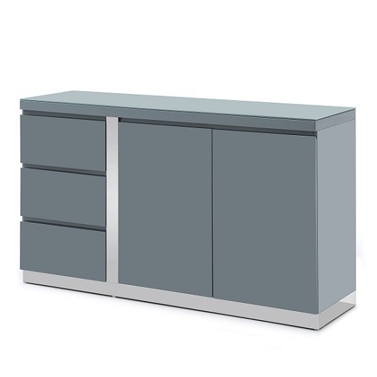 Cortina Glass Top Sideboard In Grey High Gloss With 2 Doors