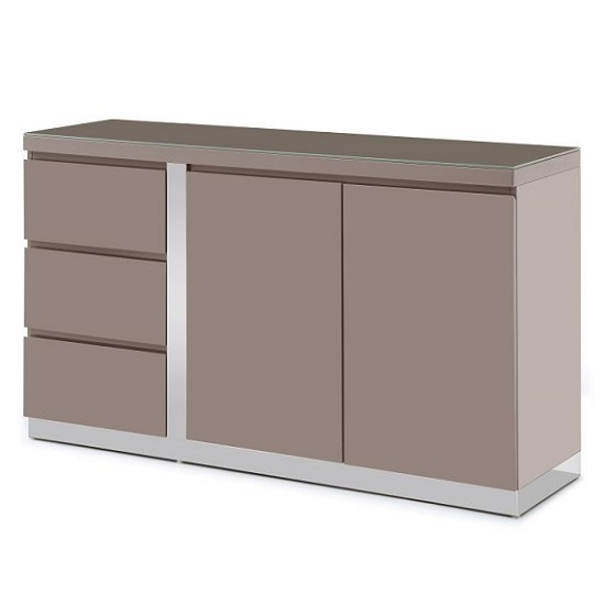 Cortina Glass Top Sideboard In Taupe High Gloss With 2 Doors