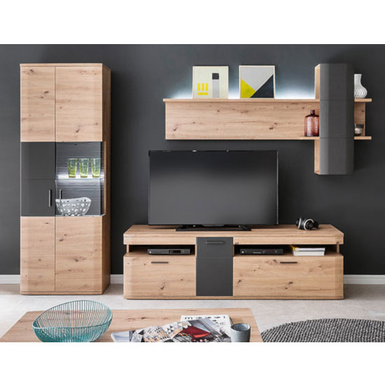 Cortona LED Living Room Set In Planked Oak With Display Cabinet
