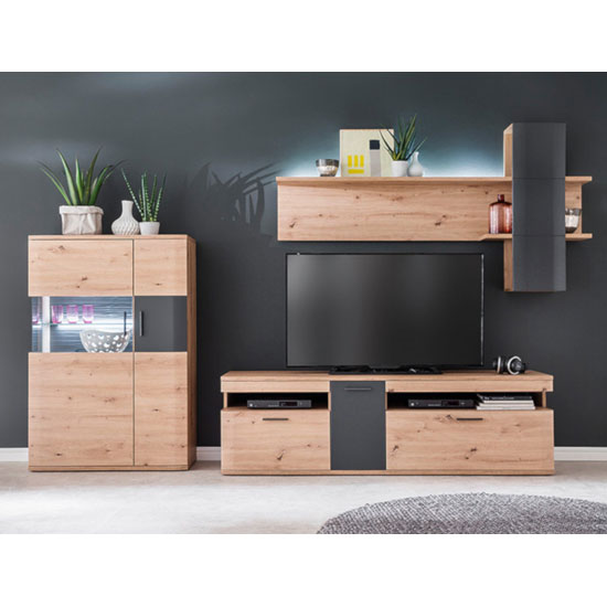 Cortona LED Living Room Set In Planked Oak With Highboard