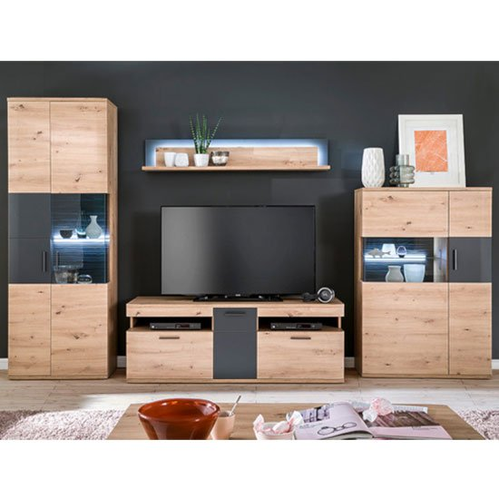 Cortona LED Living Room Set In Planked Oak With Wall Shelf
