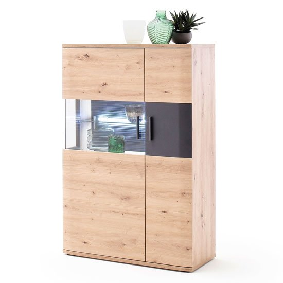 Cortona LED Wooden Highboard In Planked Oak With 2 Doors