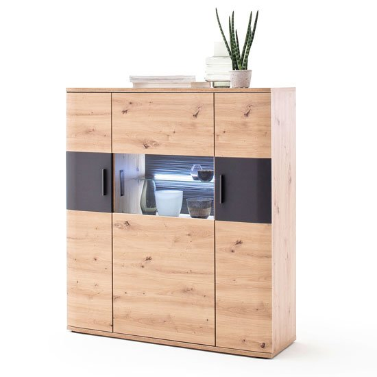 Cortona LED Wooden Highboard In Planked Oak With 3 Doors