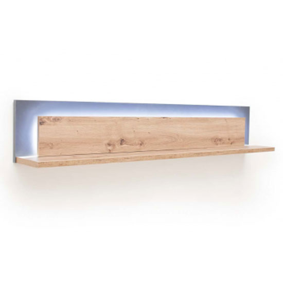 Cortona LED Wooden Horizontal Wall Shelf In Planked Oak_2
