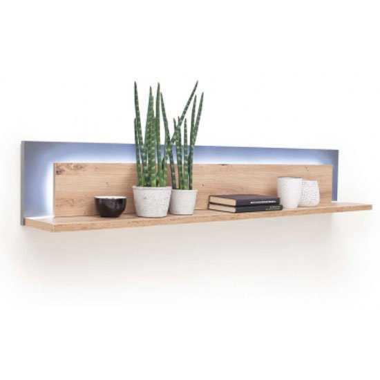 Cortona LED Wooden Horizontal Wall Shelf In Planked Oak_1