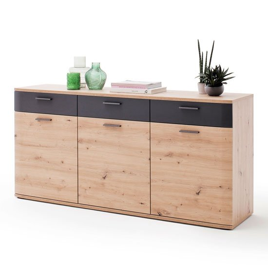 Cortona Wooden 3 Doors Sideboard In Planked Oak With 3 Drawers