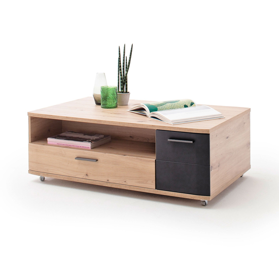 Cortona Wooden Coffee Table In Oak And Black_2