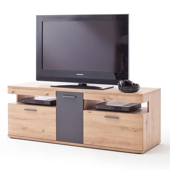 View Cortona wooden small tv unit in planked oak