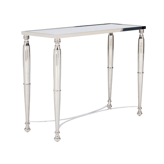 Corum Glass Console Table In Nickel Frame
