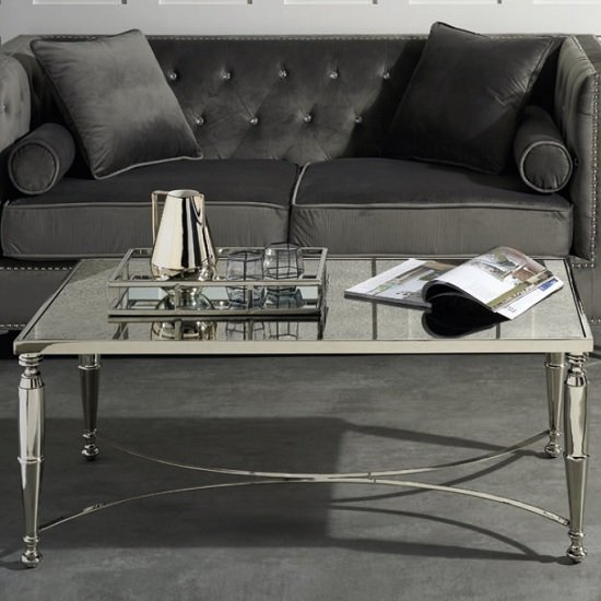 View Corum mirrored coffee table in two tone with nickel finish frame