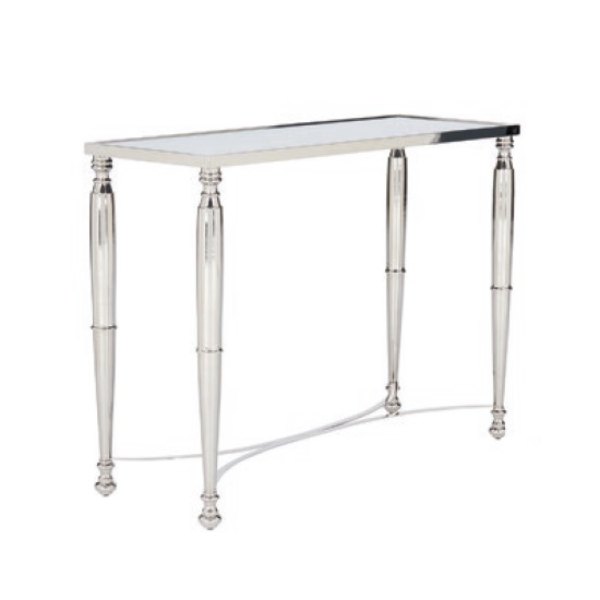 Corum Mirrored Console Table In Two Tone And Nickel Finish Frame