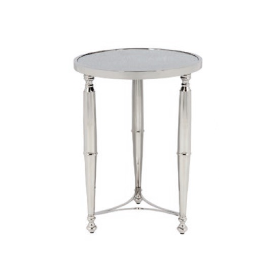 Corum Mirrored Side Table Round In Two Tone And Nickel Finish