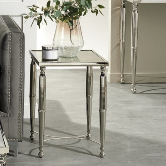 Corum Mirrored Side Table Square In Two Tone And Nickel Finish_1
