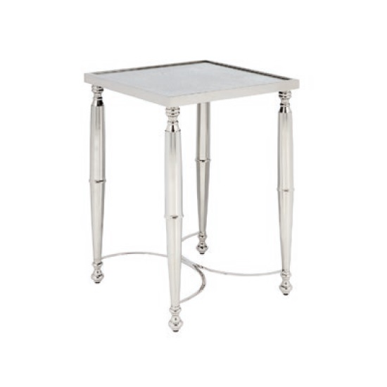 Corum Mirrored Side Table Square In Two Tone And Nickel Finish_2