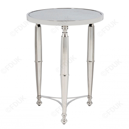 Corum Round Glass Side Table In Nickel
