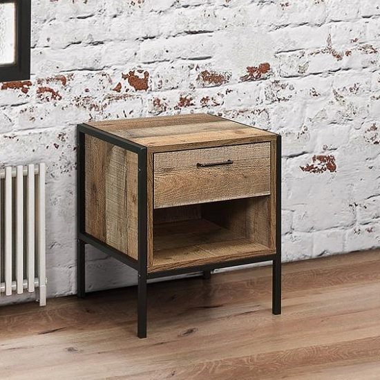 Coruna Wooden Bedside Cabinet In Rustic With Metal Frame_1