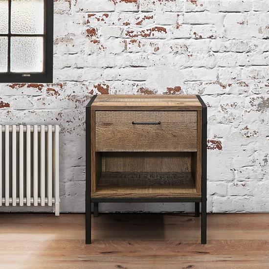 Coruna Wooden Bedside Cabinet In Rustic With Metal Frame_2