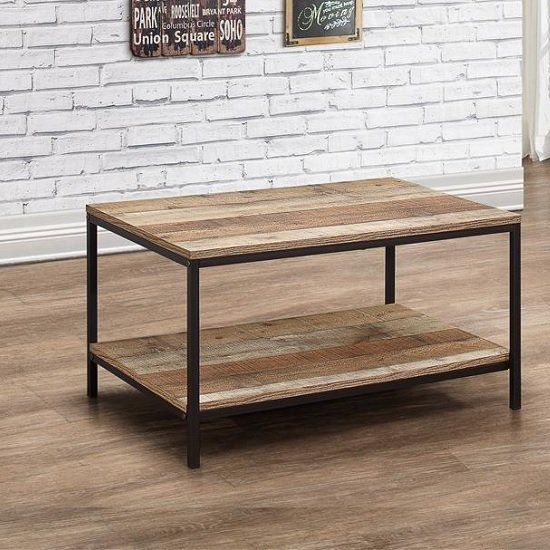 Coruna Wooden Coffee Table In Rustic And Metal Frame