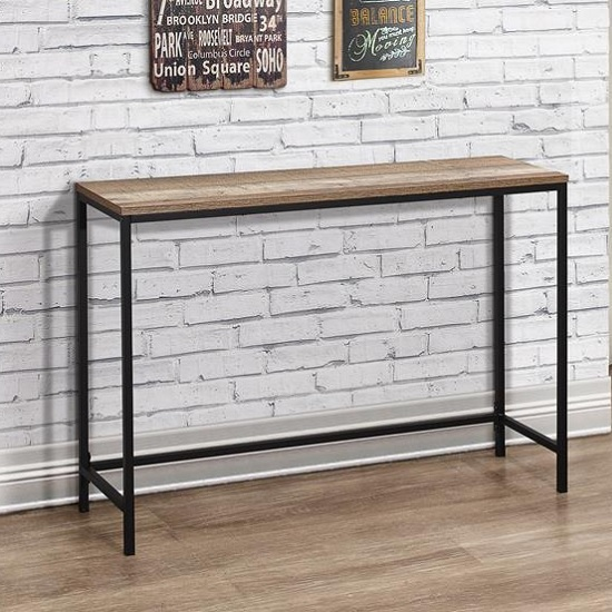 Coruna Wooden Console Table In Rustic And Metal Frame_1