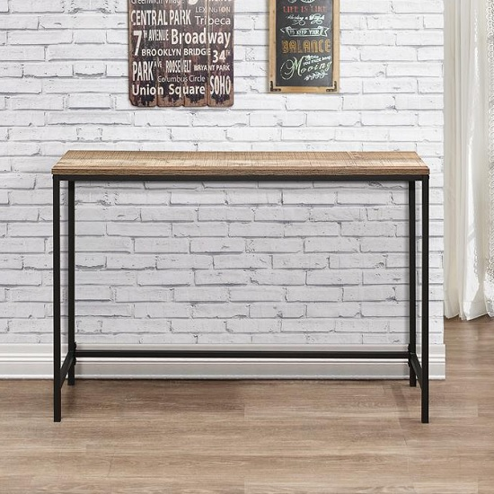 Coruna Wooden Console Table In Rustic And Metal Frame_2
