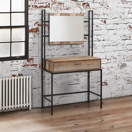 Coruna Dressing Table With Mirror In Rustic And Metal Frame_1