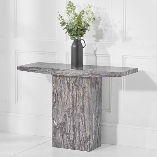 Coruna Marble Console Table In Grey High Gloss