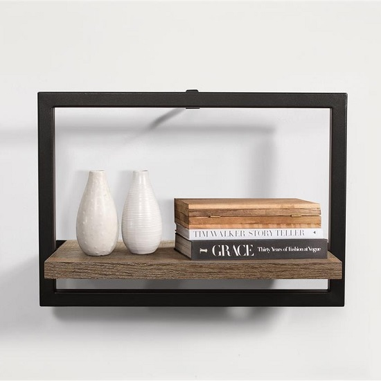 Coruna Medium Floating Shelf In Rustic And Metal Frame