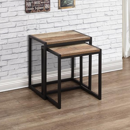 Coruna Wooden Nest of 2 Tables In Rustic And Metal Frame