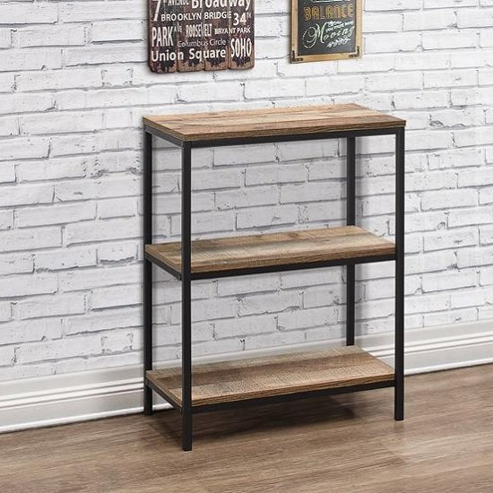View Coruna wooden bookcase small in rustic and metal frame