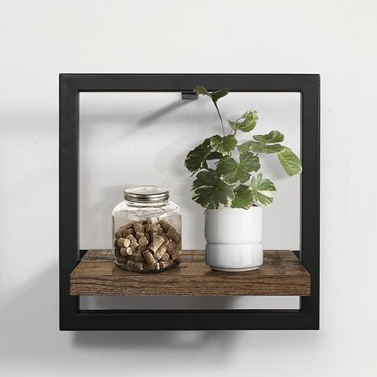 Coruna Small Floating Wall Shelf In Rustic And Metal Frame_1