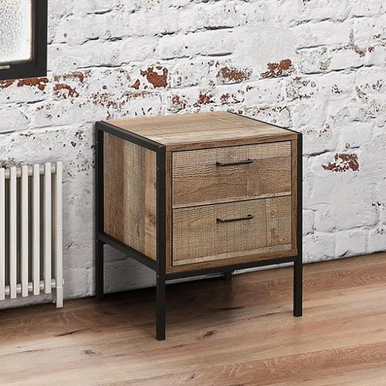 Coruna Bedside Cabinet In Rustic And Metal Frame With 2 Drawers