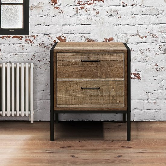 Coruna Bedside Cabinet In Rustic And Metal Frame With 2 Drawers_2