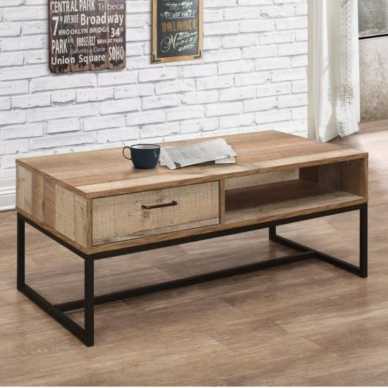 Coruna Coffee Table In Rustic And Metal Frame With 1 Drawer
