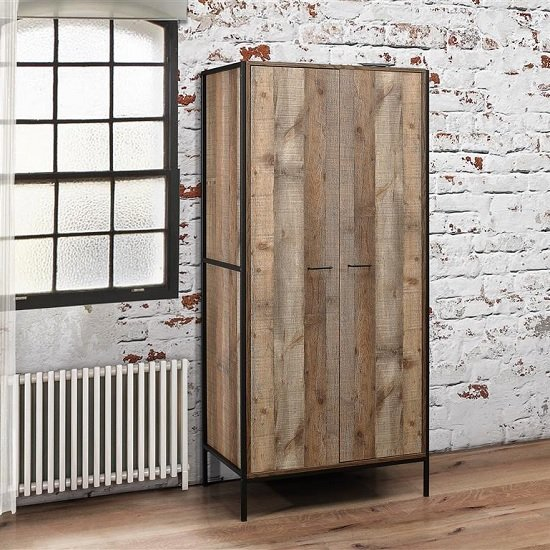 Coruna Wooden Wardrobe In Rustic And Metal Frame With 2 Doors