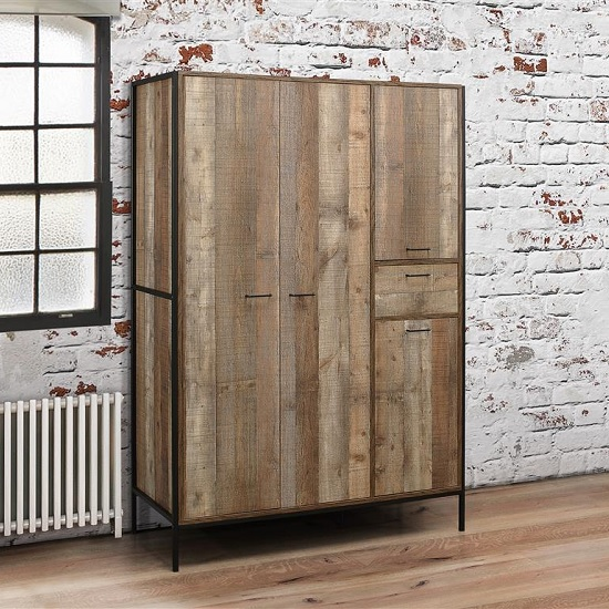 Coruna Wooden Wardrobe Wide In Rustic And Metal Frame