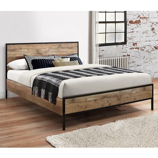Coruna Wooden Double Bed In Rustic And Metal Frame