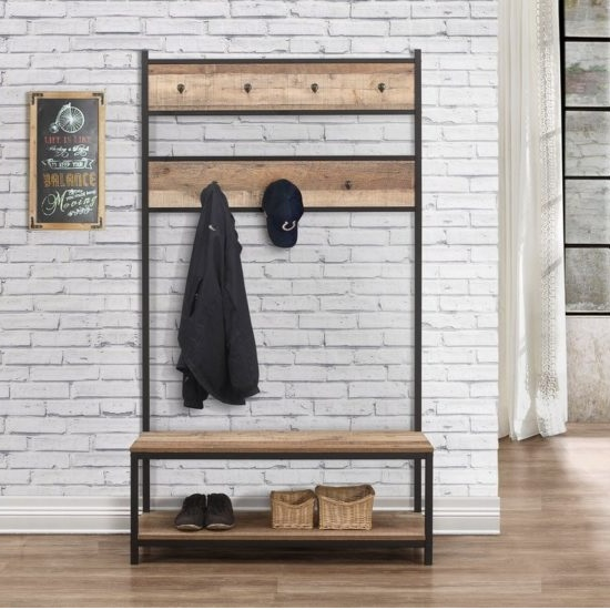 Coruna Wooden Coat Rack And Bench In Rustic And Metal Frame_2