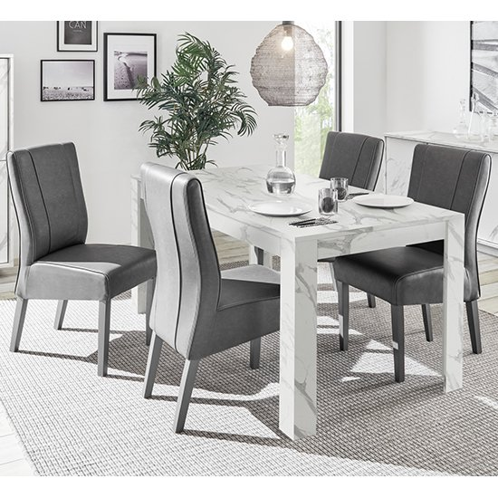 Corvi Dining Table In White Marble Effect With 4 Miko Chairs
