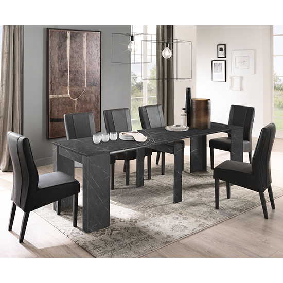 Corvi Extending Black Wooden Dining Table With 8 Miko Chairs