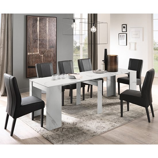 Corvi Extending White Wooden Dining Table With 8 Miko Chairs