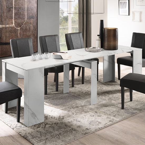 Corvi Large Extending Wooden Dining Table In White Marble Effect